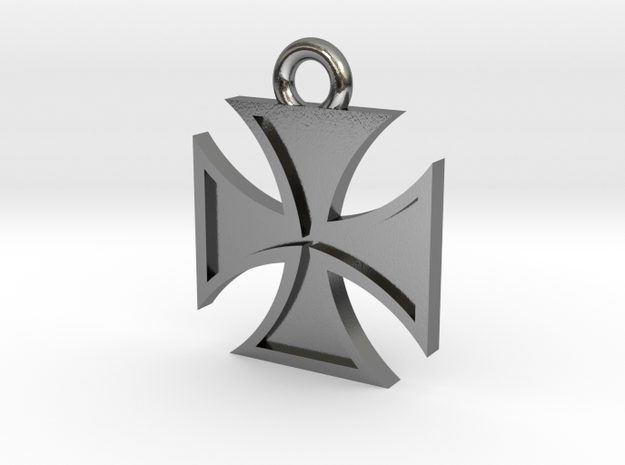 Iron Cross Pendant 2 in Polished Silver
