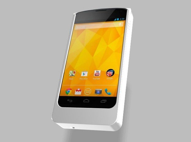 Nexus 4 5000mah Charger with USB Power Out in White Natural Versatile Plastic
