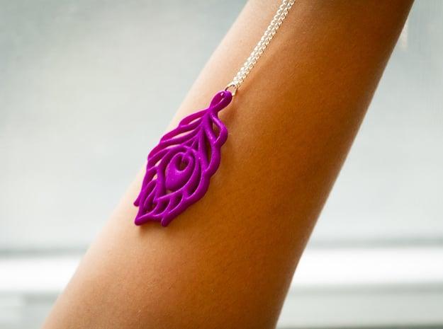 Peacock Feather Pendant in Purple Processed Versatile Plastic