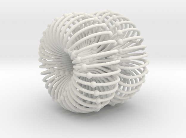 Double Torus Atomic/Planetary/Galactic Field 50mm in White Natural Versatile Plastic