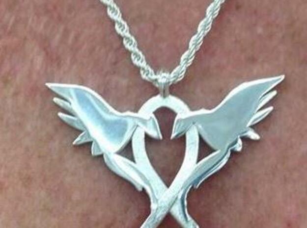 L.O.V.E Pendant Small&Thin in Natural Silver
