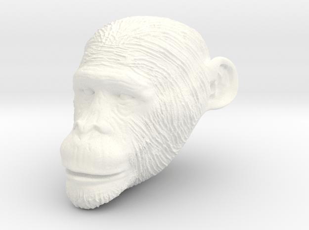 Head Chimp in White Processed Versatile Plastic