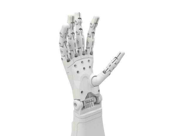 Full Right Hand (3d printed parts only) in White Natural Versatile Plastic