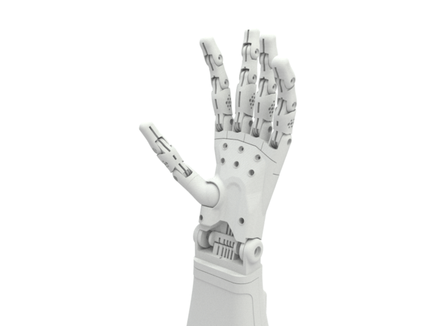 Full Left Hand (3d printed parts only) in White Natural Versatile Plastic