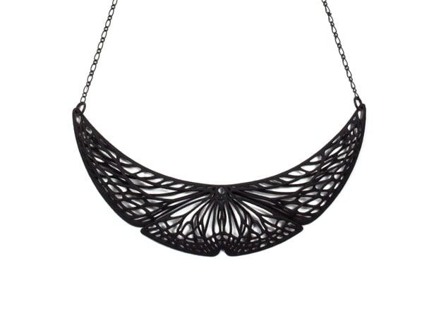 Butterfly Pendant (S) Plastic in Black Natural Versatile Plastic