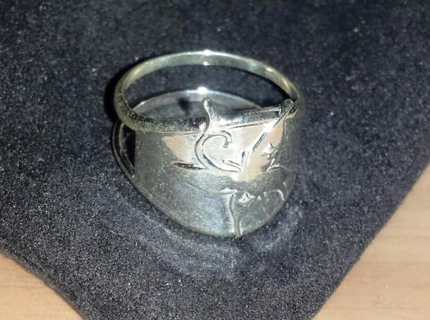 Tribal Butterfly Ring  in Polished Silver: 6.75 / 53.375