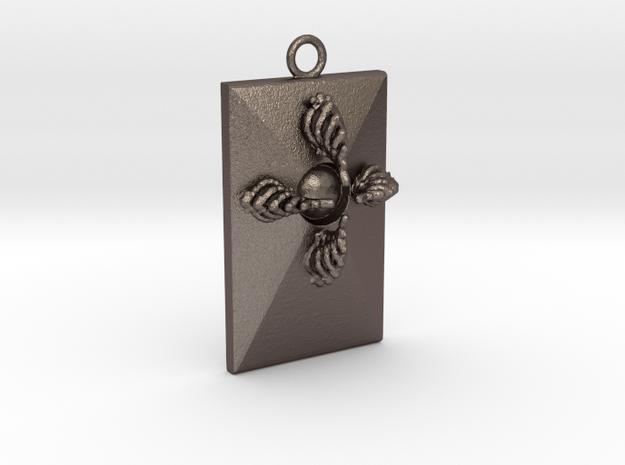 Pendant V in Polished Bronzed Silver Steel