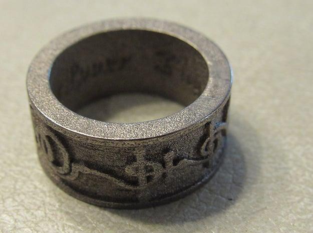 """""""T'hy'la"""" Vulcan Script Ring - Embossed Style in Polished Nickel Steel: 7 / 54"""