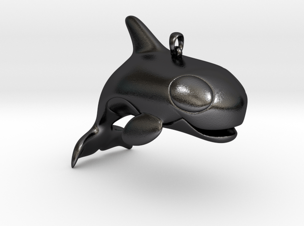 Big Smiling Orca Pendant in Polished and Bronzed Black Steel