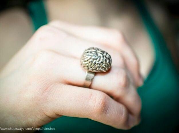 Intelligent Brain Ring in Polished Bronzed Silver Steel