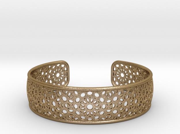 Open Flower Pattern Bracelet in Polished Gold Steel