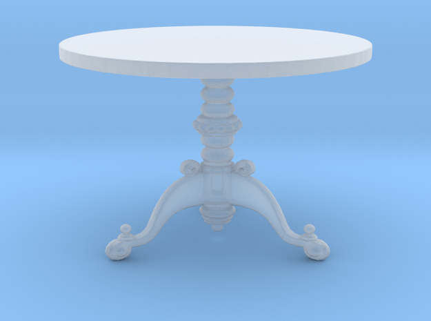 Miniature 1:48 Ornate 3 Leg Table in Smooth Fine Detail Plastic