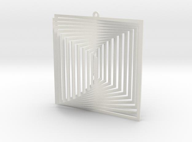 Pendant Wind Spinner 3D Square in White Natural Versatile Plastic