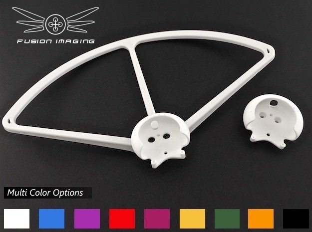 4x. DJI Phantom Prop Guard Connector (V4) in White Processed Versatile Plastic