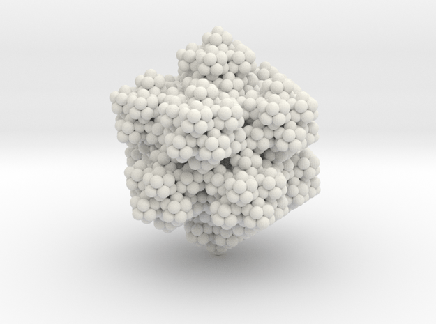 Golden Icosahedron Fractal in White Natural Versatile Plastic