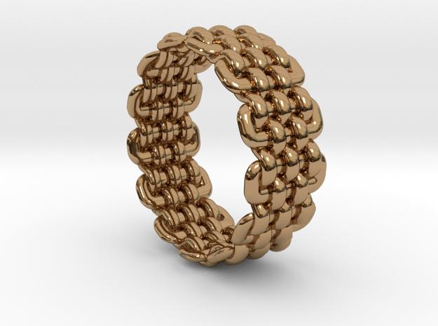 Wicker Pattern Ring Size 12 in Polished Brass
