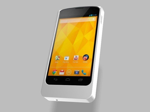 Nexus 4 2500mah Charger with USB Power Out in White Natural Versatile Plastic