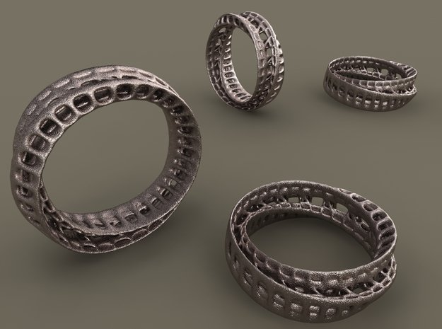 Twistedbond ring 21.2mm in Polished Bronzed Silver Steel