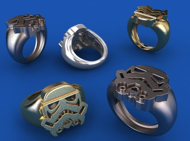 Storm Trooper Ring in Polished Bronzed Silver Steel