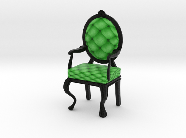 1:12 One Inch Scale LimeBlack Louis XVI Chair in Full Color Sandstone