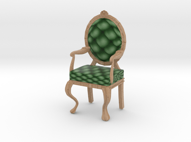 1:12 One Inch Scale PinePale Oak Louis XVI Chair in Full Color Sandstone