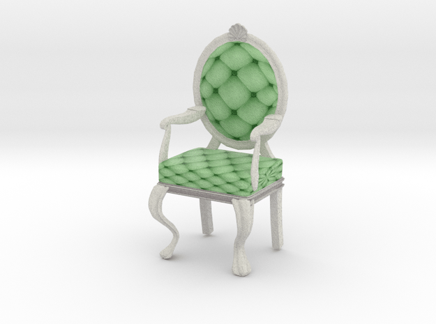 1:12 One Inch Scale MintWhite Louis XVI Chair in Full Color Sandstone