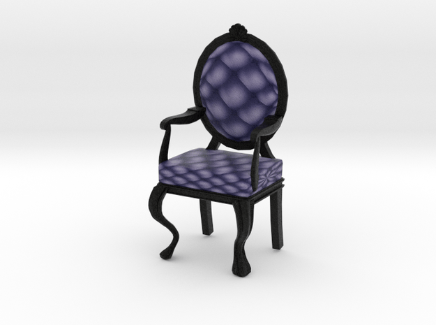 1:12 One Inch Scale NavyBlack Louis XVI Chair in Full Color Sandstone
