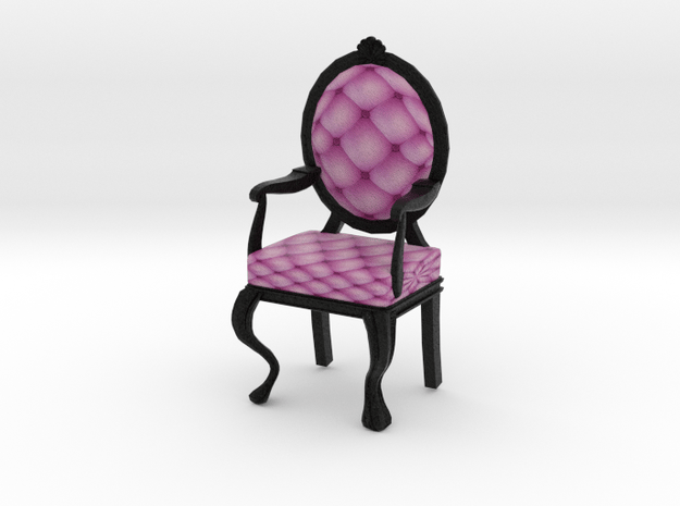 1:12 One Inch Scale PinkBlack Louis XVI Chair in Full Color Sandstone