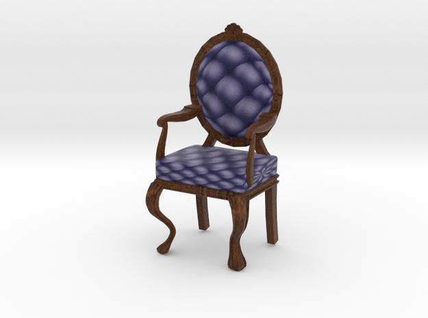 1:24 Half Inch Scale NavyDark Oak Louis XVI Chair in Full Color Sandstone