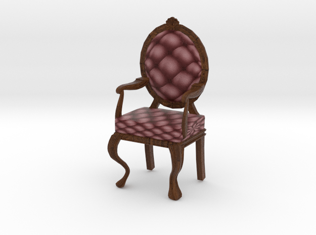 1:24 Half Inch Scale MaroonDark Oak Louis XVI Chai in Full Color Sandstone