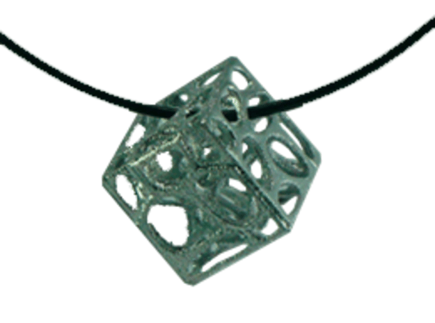 Voronoi cube in Polished Gold Steel