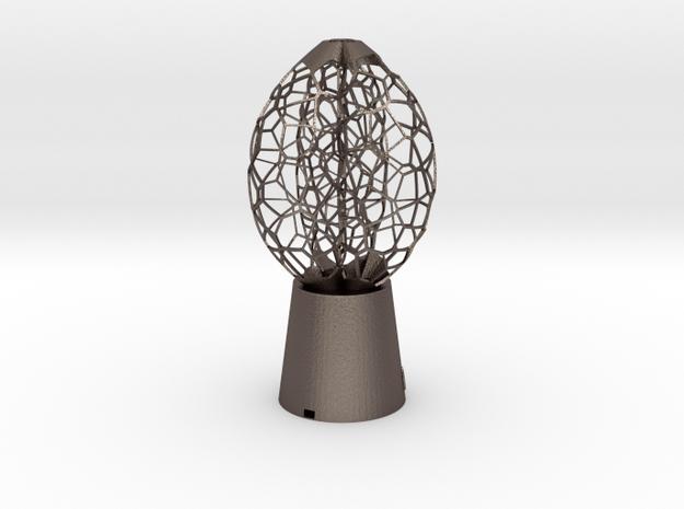 3 petal Lamp in Polished Bronzed Silver Steel