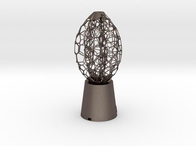 5 petal Lamp in Polished Bronzed Silver Steel