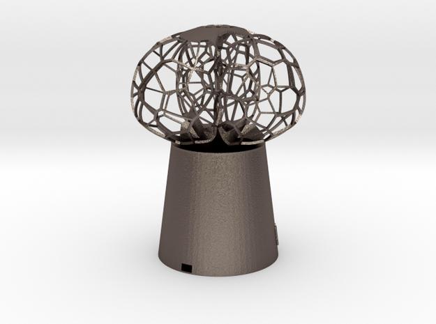 3 petal mini Lamp in Polished Bronzed Silver Steel