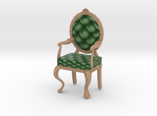 1:24 Half Inch Scale PinePale Oak Louis XVI Chair in Full Color Sandstone