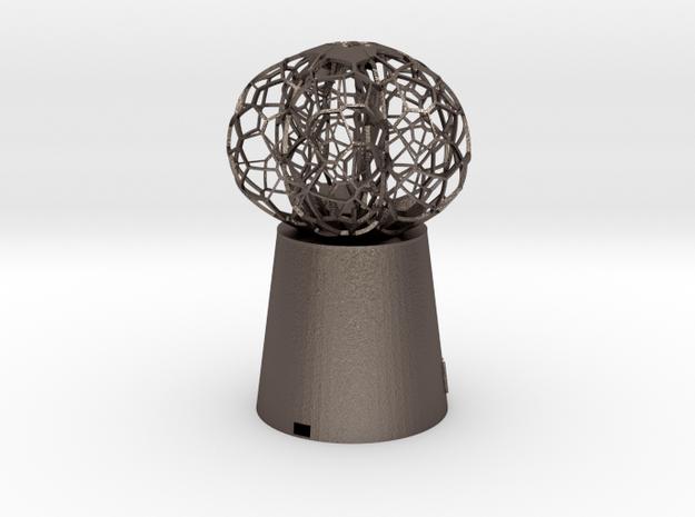 5 petal mini Lamp in Polished Bronzed Silver Steel