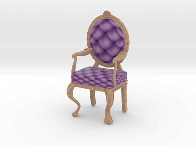 1:24 Half Inch Scale LavPale Oak Louis XVI Chair in Full Color Sandstone