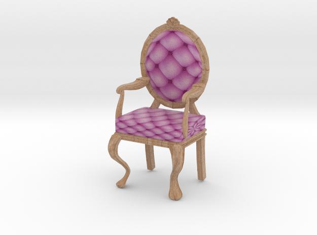 1:24 Half Inch Scale PinkPale Oak Louis XVI Chair in Full Color Sandstone