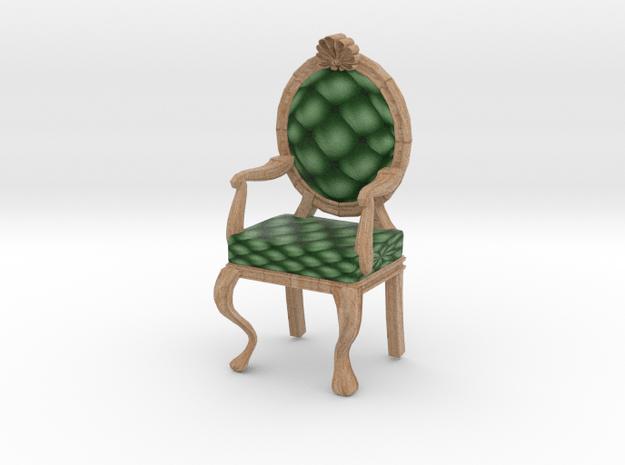 1:48 Quarter Scale PinePale Oak Louis XVI Chair in Full Color Sandstone