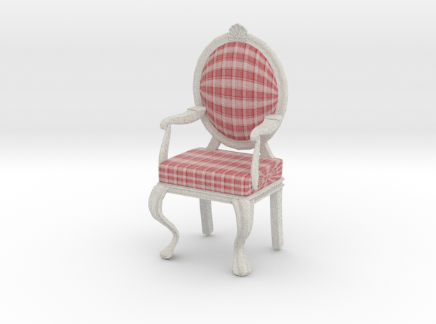 1:12 Scale Red Plaid/White Louis XVI Chair in Full Color Sandstone