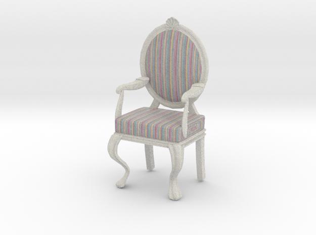 1:12 Scale Pastel Striped/White Louis XVI Chair in Full Color Sandstone