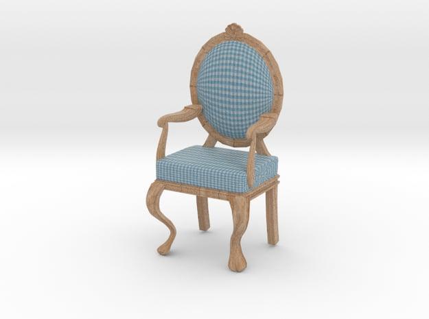 1:12 Scale Blue Gingham/Pale Oak Louis XVI Chair in Full Color Sandstone