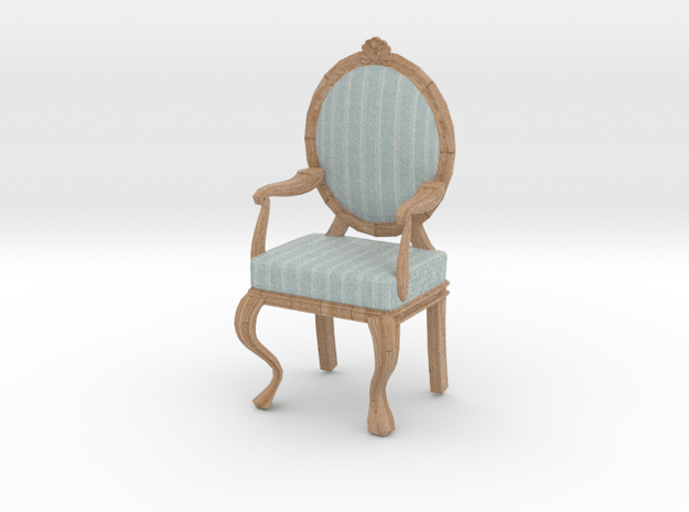 1:12 Scale Blue Striped/Pale Oak Louis XVI Chair in Full Color Sandstone