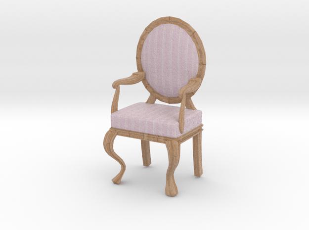 1:12 Scale Pink Striped/Pale Oak Louis XVI Chair in Full Color Sandstone