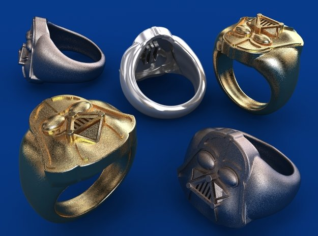 Vader ring - 16mm in Polished Bronzed Silver Steel