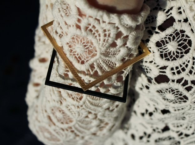 Square Bracelet Medium Black in Black Natural Versatile Plastic