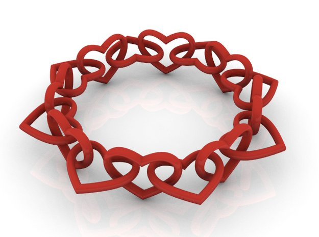 Heart Chain 60 in Red Processed Versatile Plastic