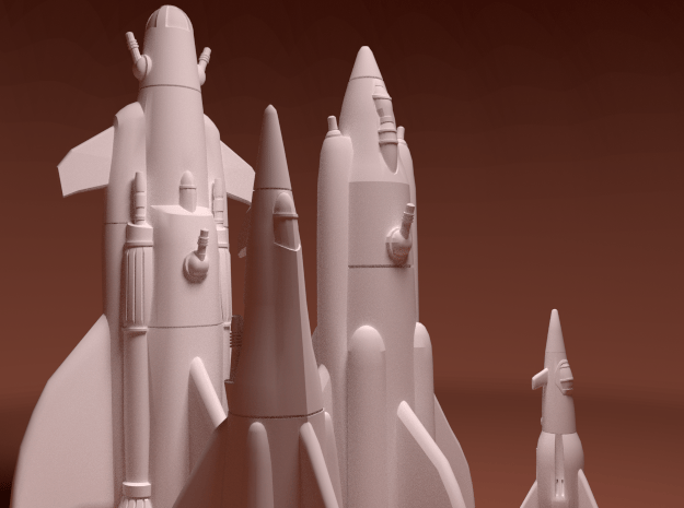 Martian War Rocket Fleet in White Natural Versatile Plastic