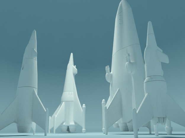Earth War Rocket Fleet in White Natural Versatile Plastic