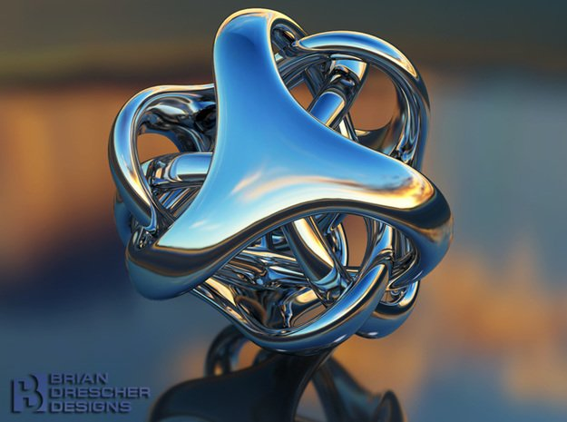 Trinobz - Bend - 3cm in Polished Bronzed Silver Steel